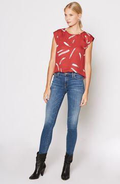 Tristessa Top in Brick White Red Print Tank Shirt, Fall Wardrobe, Feminine, Skinny Jeans, Silk, My Style, Red, Pants, Stuff To Buy