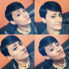 sleek pixie hairstyle with bangs