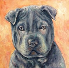 Lily the Blue Sharpei by Painted Paws Studio #sharpei #dogart #painting