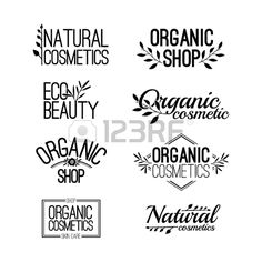 Set of template for design logos stamps stickers for organic and natural cosmetics Floral elements a Stock Vector