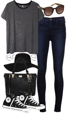 8a0918cb styleselection: outfit for college by im-emma featuring plastic sunglasses  striped shirt jeans converse black hat