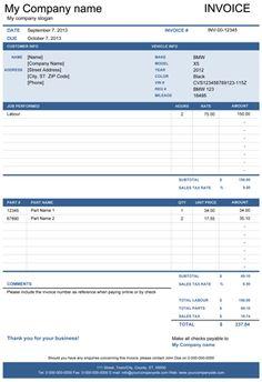 mechanic receipt template free