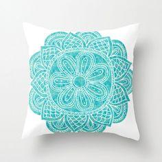 Blue Mandala Throw Cushion Pillow Case. Watercolor Mandala.