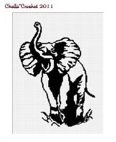 African Bull Elephant Silhouette Afghan Crochet Pattern Graph