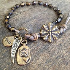 """Wing and a Prayer, """"Faith"""" Hand Knotted Wrap Bracelet, Bronze Cross Crown Heart $32.00"""