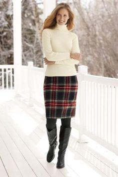 L.L. Bean 'Andover' wool-blend plaid skirt