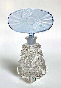 Vintage Perfume Czech Cut Glass Art Deco Blue Stopper | Etsy