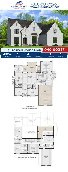 Get to know this 4,726 sq. ft. European home, Plan 940-00247 offers 5 bedrooms, 4.5 bathrooms, a guest room, a kitchen island, an open floor plan, a home office, a media room, and a 3 car garage. #europeanhome #twostoryhome #architecture #houseplans #housedesign #homedesign #homedesigns #architecturalplans #newconstruction #floorplans #dreamhome #dreamhouseplans #abhouseplans #besthouseplans #newhome #newhouse #homesweethome #buildingahome #buildahome #residentialplans #residentialhome Floor Plans 2 Story, House Plans 2 Story, New House Plans, Dream House Plans, House Floor Plans, Dream Houses, European Plan, European House Plans, Southern House Plans