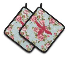 Yellow Jacket Shabby Chic Blue Roses Pair of Pot Holders BB1053-RS-BU-PTHD