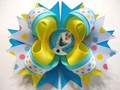 """FROZEN /Olaf"" Handmade Boutique Stacked Hair Bow.Blue/Yellow/White 5.0"" x 4.5"" #JOYJOEYKANGAROO"