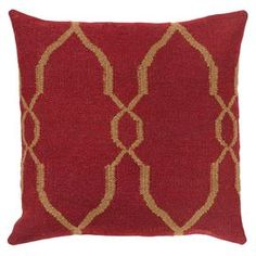Add a pop of style to your sofa or arm chair with this whimsical wool and cotton pillow, showcasing an oversized trellis motif.  Product: PillowConstruction Material: Wool and cotton coverColor: Red and tanFeatures:  Trellis motifInsert included