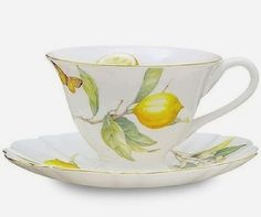 Tea And Crumpets, Tea Blog, China Tea Cups, Lemon Lime, Lemon Joy, Lemon Basil, Fine Porcelain, Painted Porcelain, Cup And Saucer Set