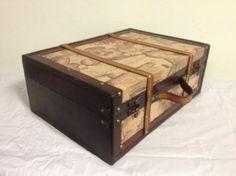 Amazon.com: Antique Vintage Style World Map Decorative Wooden Suitcase (Fh 004A): Home & Kitchen