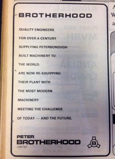 Brotherhood advert from the Evening Telegraph, March 1974