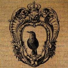Ornate Frame Crown Royal Bird Digital Image Download Sheet Transfer To Pillows Totes Tea Towels Burlap No. 1412