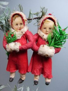Victorian Christmas Cotton Ornaments.  Children in red santa suits