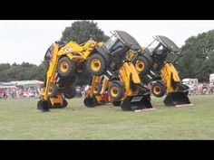 JCB Digger Dance at the Elvaston Castle Steam Rally in July 2011. This fleet of JCB's has come from J C Balls in Ambergate.