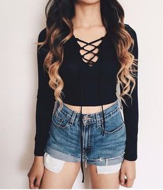 Wheretoget - Lace black long sleeve top, jean shorts