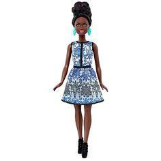 Barbie Fashionista Vestido Brocado Branco e Azul