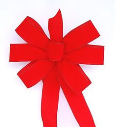 """This traditional red velvet Christmas bow is handmade to order in the US. It measures about 11"""" to 12"""" across and has tails that measures about 16"""" to 18"""" long. The ribbon is 2 1/2"""" in width. This bow has six loops, three on each side. It it tied with wire so that you... see more details at https://bestselleroutlets.com/arts-crafts-sewing/crafting/fabric-ribbons/product-review-for-wired-traditional-red-handmade-velvet-christmas-bow-approximately-12-ca"""