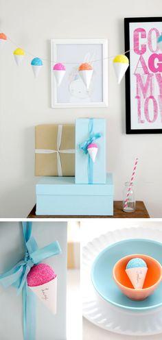 Guirnalda y decoraciones en forma de helado