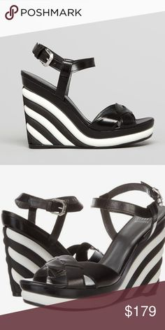 """Stuart Weitzman Black & White Wedges NWT & box. Stuart Weitzman wedges. Crisp black and white stripes add chic graphic interest to a sky-high sandal with a knotted toe strap. Approx heel height is 4.5"""" with 1"""" platform (comparable to a 3.5"""" heel). Adjustable strap with buckle closure. Calfskin leather upper/leather lining/rubber sole. Made in Spain. No modeling/trades! Stuart Weitzman Shoes Wedges"""
