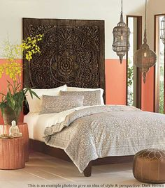 Queen Size Bed Bohemian Headboard Mandala Sculpture Lotus Flower Wooden Hand Craved Carving Teak Wood Art Panel Panels Wall Home Decor Thai Bedroom Wall, Bedroom Decor, Theme Bedrooms, Bedroom Ideas, Eclectic Bedrooms, Bali Bedroom, Decor Room, Bohemian Headboard, Wood Headboard