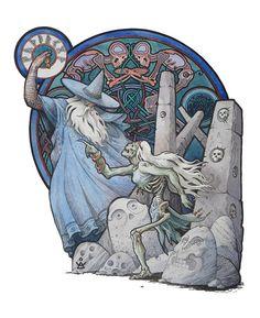 """Odin and the volvía. """"Myths and Legends of Scandinavia"""" by Dmitry ILyutkin"""