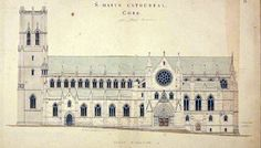 Architect: Sir John Benson A design for reconstruction comprising a new tower, lengthening of the nave, the insertion of stone mullioned windows and an arch on which a steeple was to rest. Cork City, How To Plan, How To Make, Cathedral, Louvre, Tower, Architecture, Building, Irish