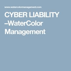 CYBER LIABILITY –WaterColor Management