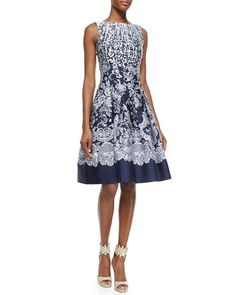 Make an entrance in this Navy Fall Winter 2015-16.   Brocade A-Line Dress, Navy by Oscar de la Renta at Neiman Marcus. For your inspiration. For your dressing for a special occasion!