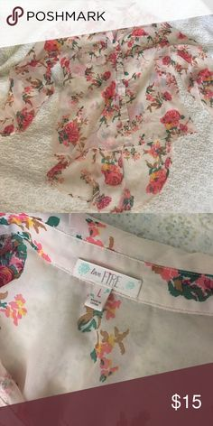 Love Fire high low floral blouse ✨re-poshing✨ bought this but didn't fit right, runs small, does not fit a true Large. Would fit a size Medium. Beautiful blouse, sad to see it go, it's comfortable and lightweight. It needs a new home ❤️ Love fire Tops Blouses