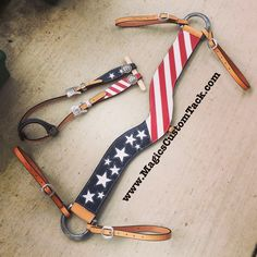 Magics Custom Tack Original Patriotic red white and blue Stars and Stripes American flag tack set. Tripping riper style breast collar and headstall  Www.magicscustomtack.com