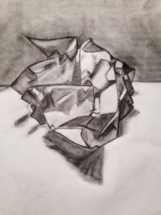 scrunched and crumpled paper tonal exercise. Margaret Hage 2014