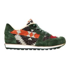 CARTA VETRATA Recycled Cotton & Suede Running Sneakers (€155) found on Polyvore - Made in Italy