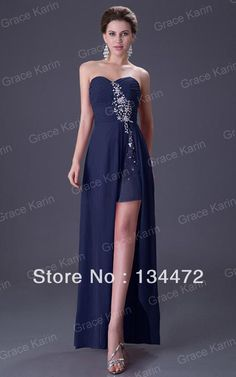 Navy Blue Red Evening Gown Grace Karin Robe De Soiree Sexy Strapless High Split Long Evening Dresses 8 Size Formal Dress CL3443