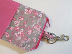 Pink and Gray Zippered Phone Wallet Iphone Caseby EyeCandyQuilts  #cute #wallets #phonewallets #iphonewallets #phonecase #iphonecases #mobileaccessories #womensaccessories #pink #flowers #handmade #giftsforwomen #giftsforgirls #giftsunder20