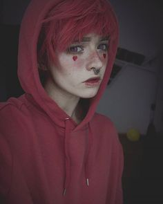 1/4 - ace of hearts // #septum #pinkhair #mua #doll #bjd #androgenous #crossplay #aesthetic #tumblr #pink #red #gumball #tomboy #androgynous #dollfie //