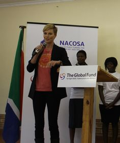 South African born & raised, Charlize Theron visited a Youth Ambassador Project funded by the Global Fund in the Ugu district of KwaZulu Natal, South Africa, August 2013.