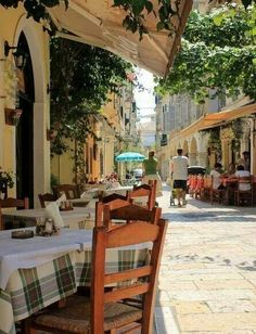 Beautiful alley in Corfu old town