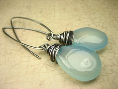 Sterling Silver Aqua Chalcedony Gemstone Earrings Wire by sofoola, $25.00