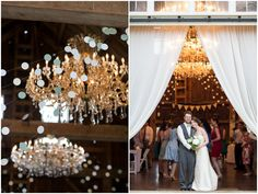 Barn Wedding Chandeliers | Rustic Wedding Lace Dress | Photos by Jackie Nagle of J. Harper Photography, www.jharperphoto.com | Bishop Farm Wedding & Events, www.bishopfarm.com | Tarnation Farm - floral design | Rustic Chic with Vintage Details Wedding