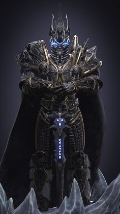 You shall be King. Lich King - The most iconic character from Blizzard universe in his purest pose. World Of Warcraft, Warcraft Art, Devaint Art, Arthas Menethil, Self Defense Martial Arts, Lich King, Death Knight, Necromancer, Iconic Characters