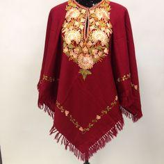 Kashmiri embroidery Wool Poncho - Maroon – Sarang