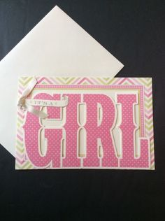 It's A Girl Baby Announcements Shower Invitations Blank Cards Set of 10 Die Cut   eBay