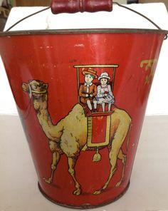 Antique 1914 L. Schlesinger tin-litho toy sand pail Children on Camel & Elephant #LeoSchlesinger