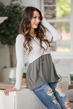 Kendal Long Sleeve Textured Color Block Top (Olive)