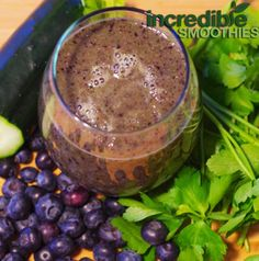 1/2 organic cucumber     2 stalks of celery     1 cup organic Italian parsley, chopped     1 cup organic blueberries (fresh or frozen)     2 ounces filtered water