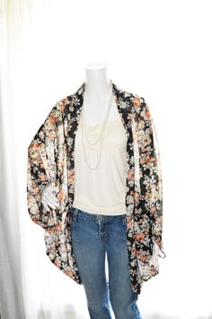 Floral Cocoon Cardigan/ Lightweight Knit Wrap/ Long Cocoon Jacket ...