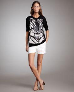 Tiger Intarsia Knit Sweater & Cuffed Shorts by Stella McCartney at Neiman Marcus.